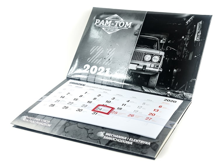 kalendarz trójdzielny z kaszerowaną główką